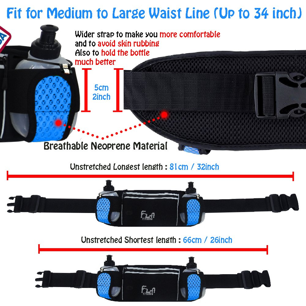 Hydration Running Belt with Water Bottles 6oz - Waist Bag for Jogging, Hiking, Biking - Fitness Fanny Pack for Outdoors and Sports, with iPhone Samsung Holder Waterproof Pocket