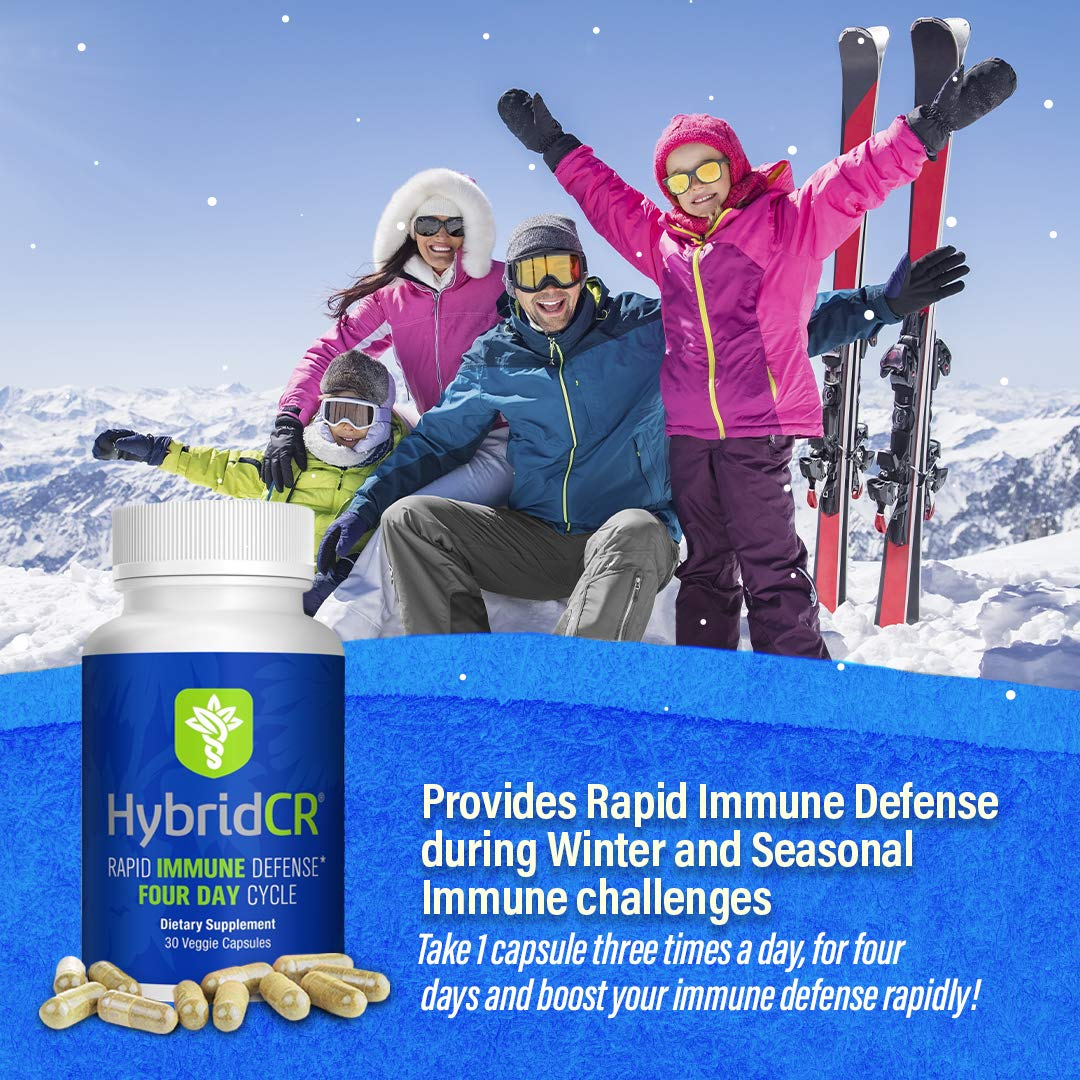 HybridCR Rapid Immune Defense by Hybrid Remedies - Pharmacist Formulated Natural Herbal Formula for Immune Support - Gluten-Free Non-GMO – Echinacea – Andrographis – Ginseng - 30 Veggie Caps
