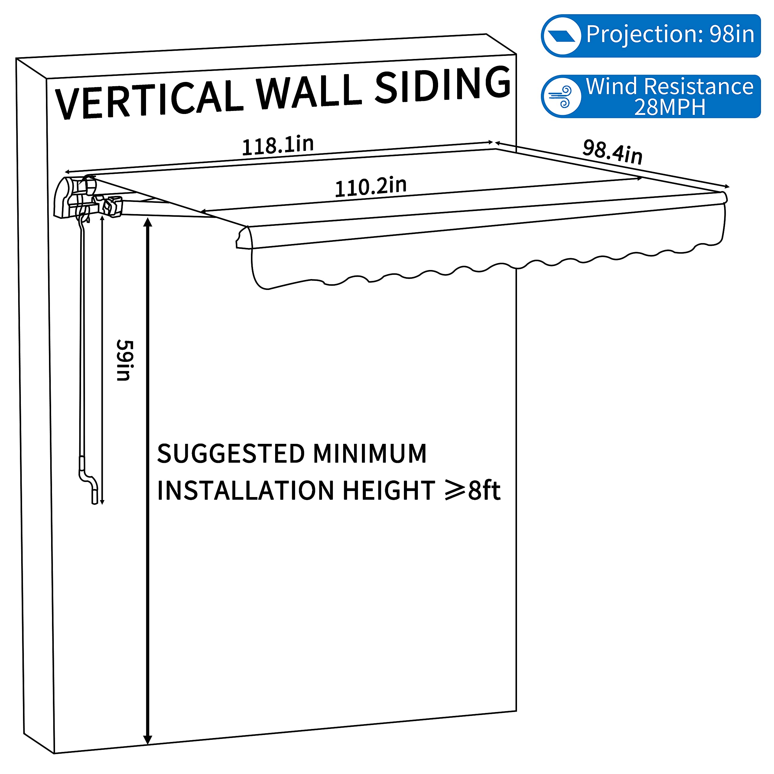 Awnings 98in Projection Sand MUPATER 10x8 Retractable Patio Awning ...