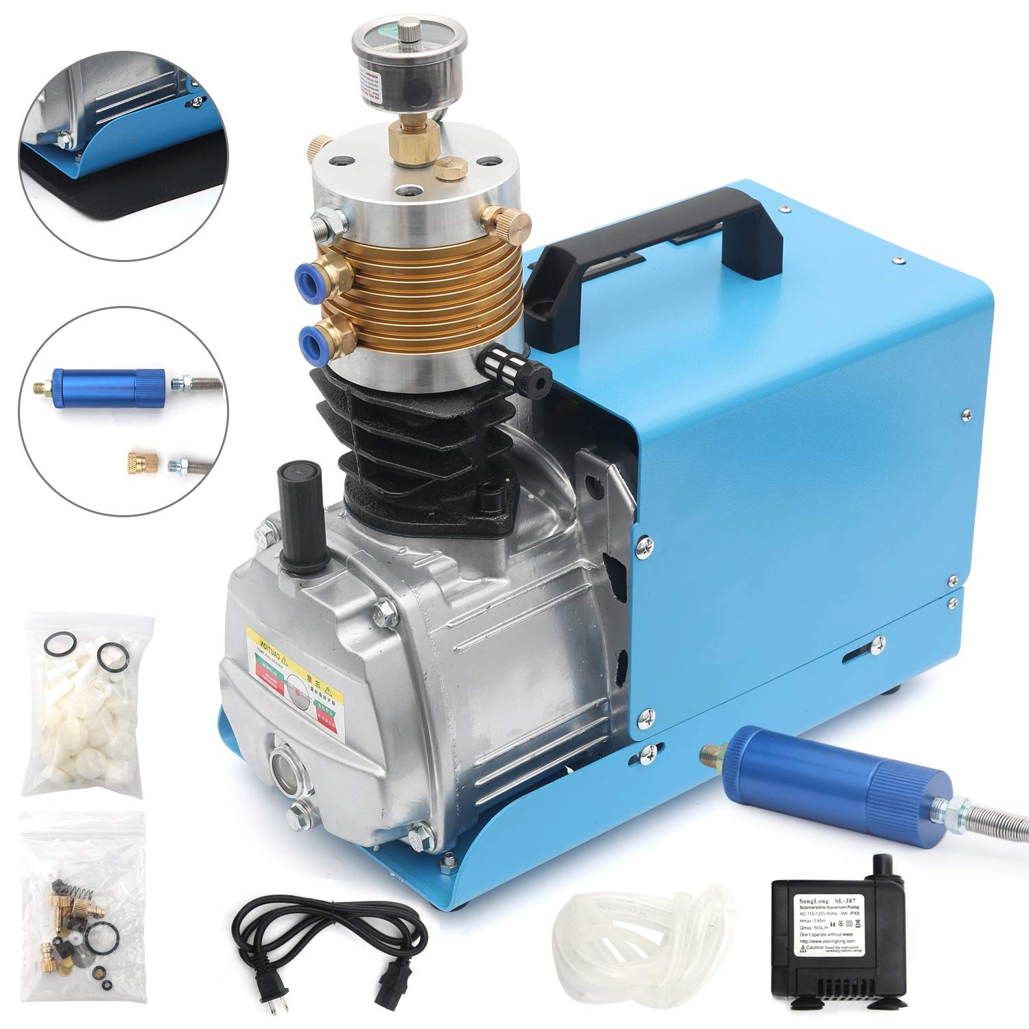 INTBUYING High Pressure 30Mpa Electric Air Compressor Pump 4500 PSI//300 BAR PCP Electric Air Pump Air Rifle Paintball Fill Station for Fire Fighting and Diving