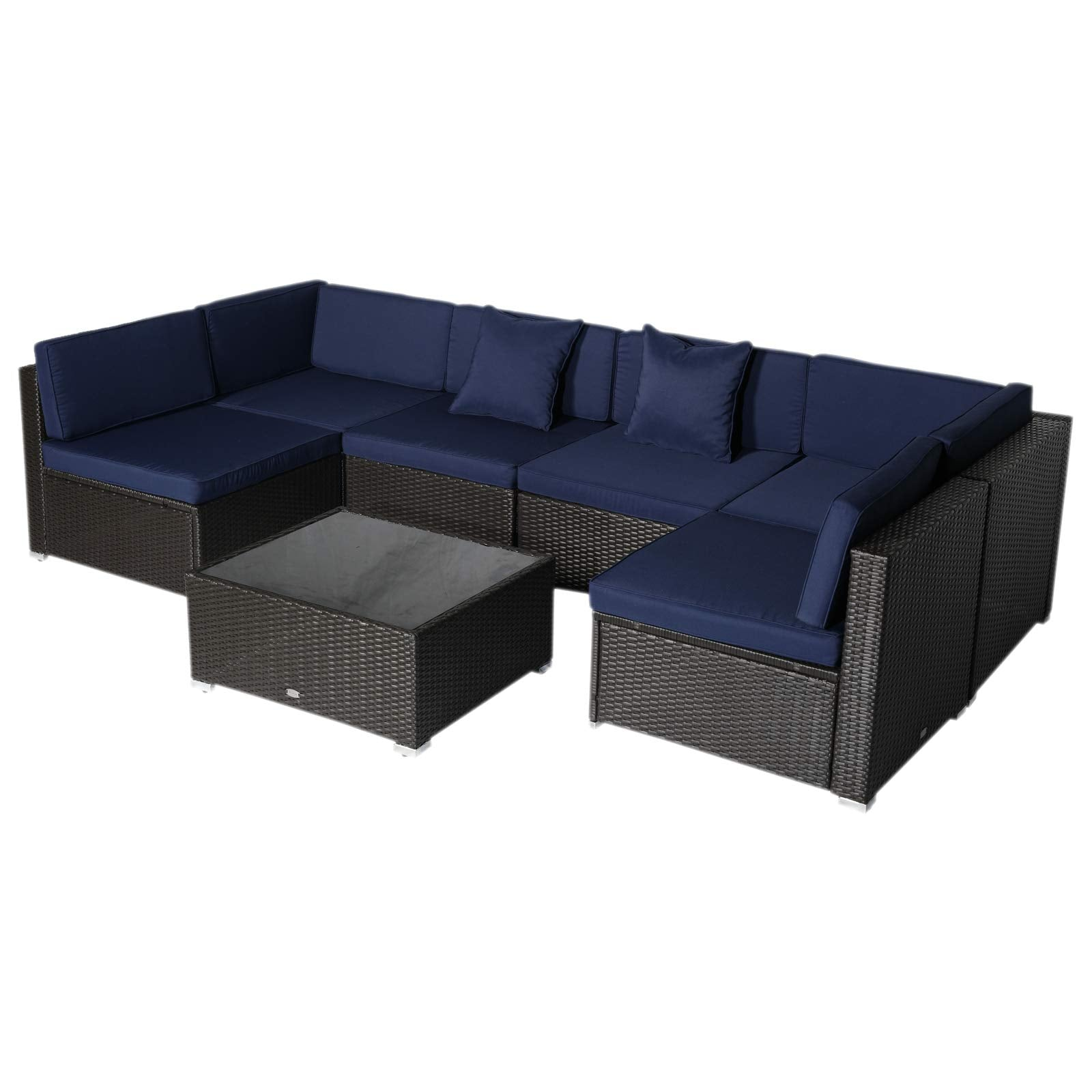 outsunny 7 piece outdoor patio furniture set with modern rattan wicker perfect for garden deck and backyard dark blue