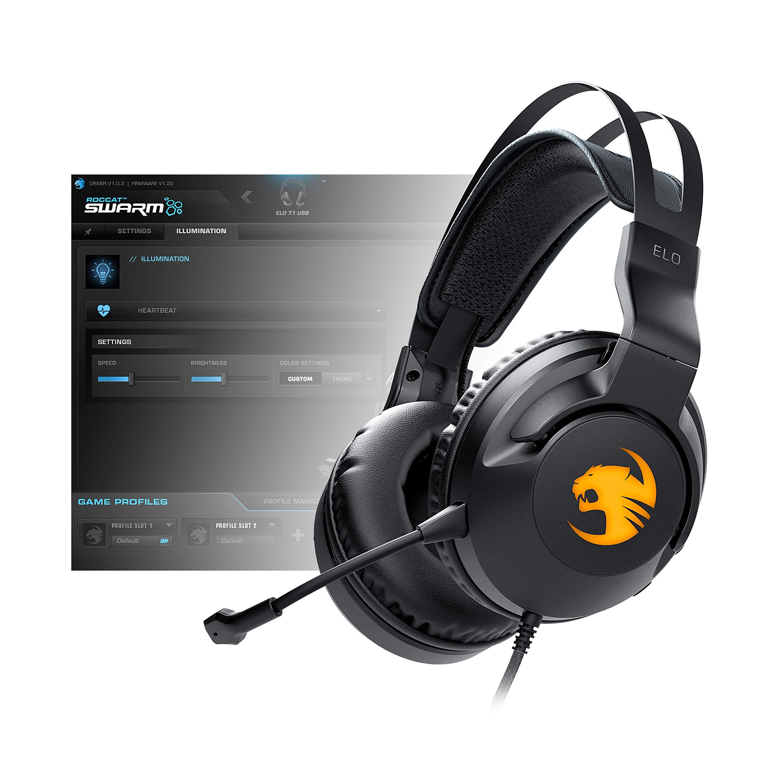 ROCCAT Elo 7.1 USB Surround Sound RGB Gaming Headset, Black