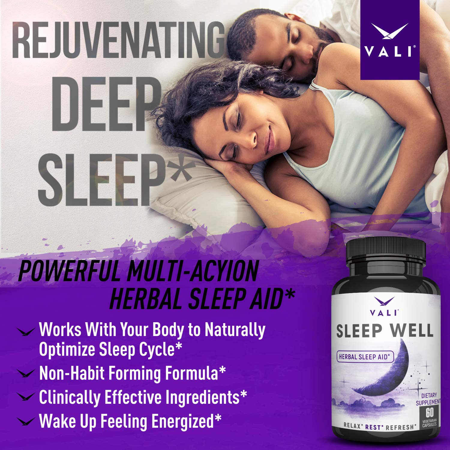 Sleep Well Natural Sleep Aid Supplement - Vegan Non Habit Forming Herbal Sleeping Pills for Adults. Calm, Relax Fast, Support Rest & Wake Refreshed. Melatonin, Valerian, Chamomile - 60 Veggie Capsules