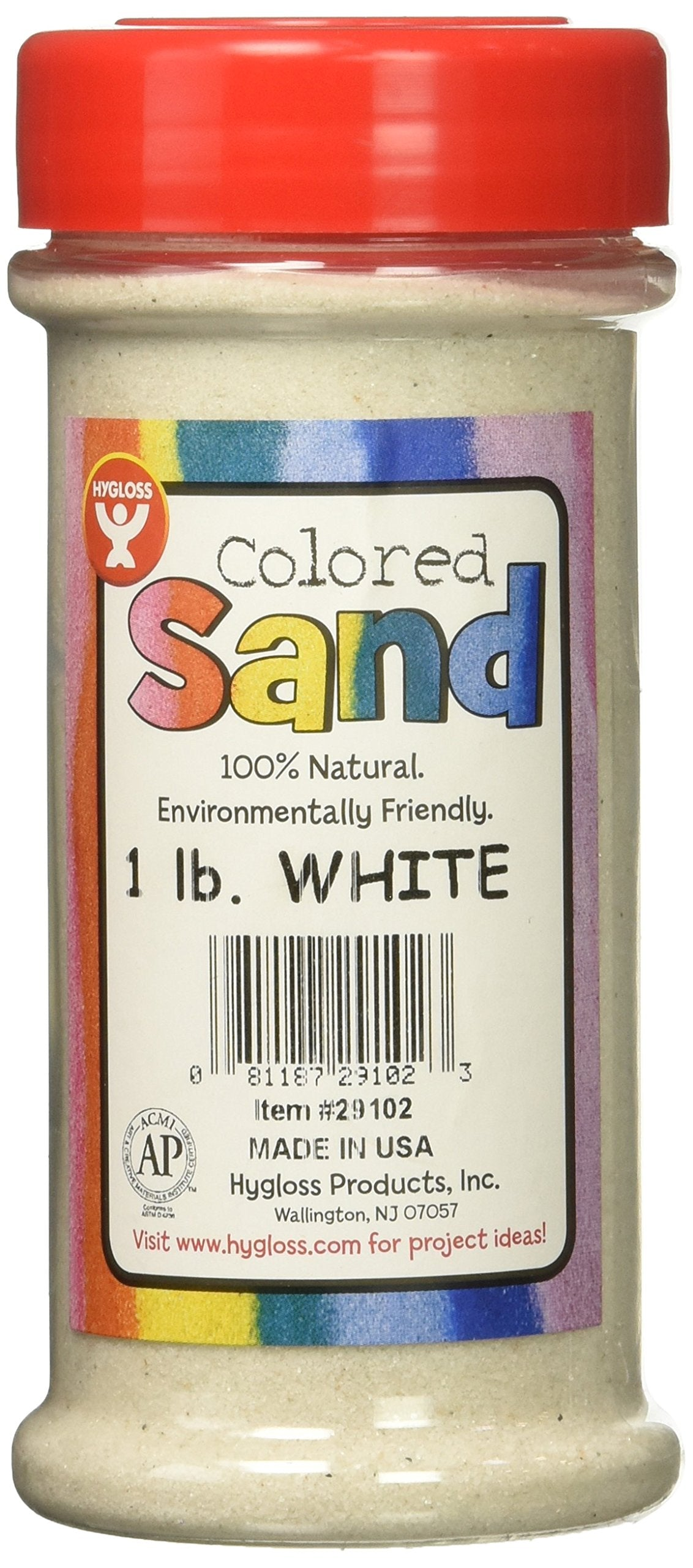 Hygloss Products Colored Play Sand Assorted Colorful Craft Art Bucket O Sand 1 lb White