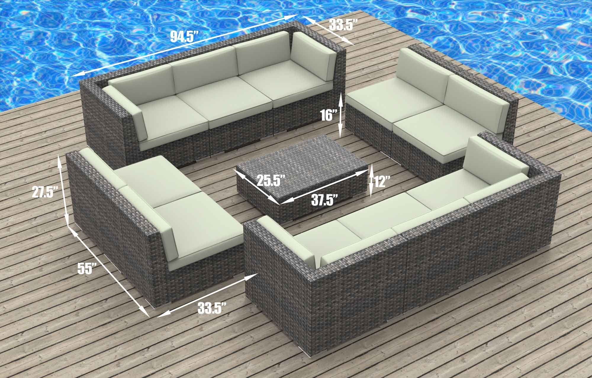 UrbanFurnishing.net 11a-Bermuda-Charcoal 11 Piece Modern Patio Furniture Sofa Sectional Couch Set