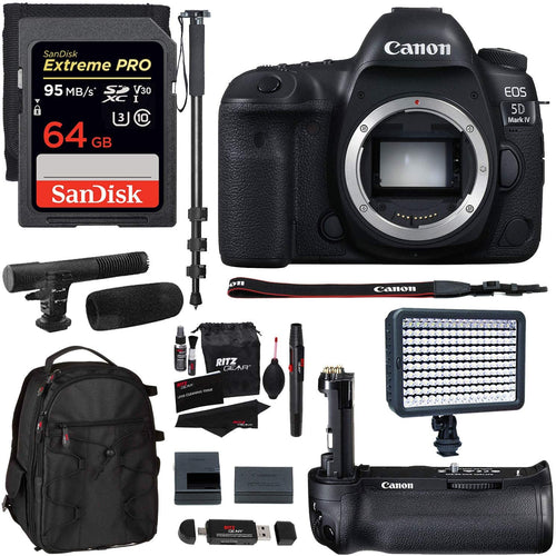 Canon EOS 5D Mark IV DSLR Camera Body + Vivitar Camera Grip + 64GB Memory Card + Microphone + LED Video Light + 72