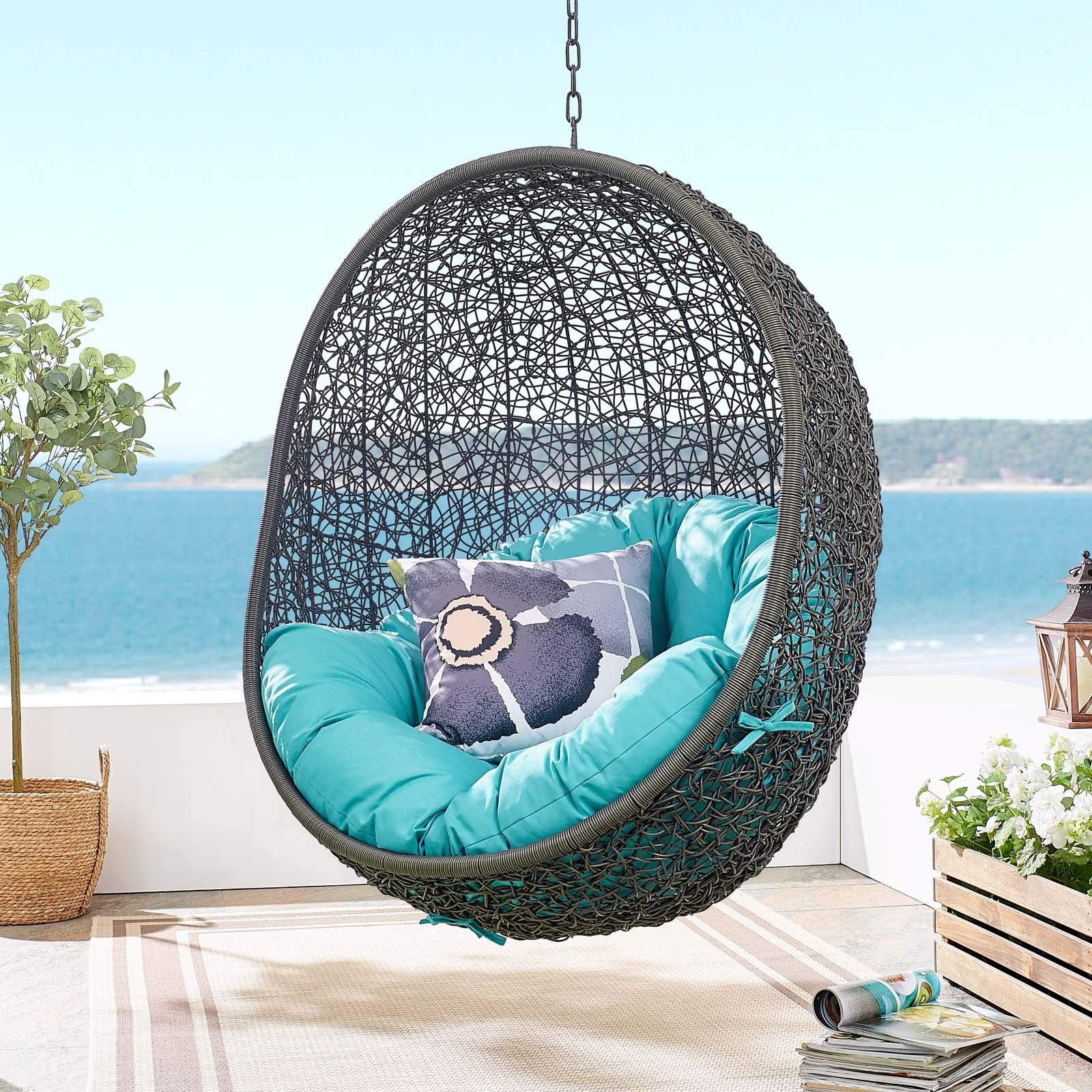 Modway EEI-2273-GRY-TRQ Hide Wicker Rattan Outdoor Patio Porch Lounge Egg Swing Chair Set, With Stand, Gray Turquoise