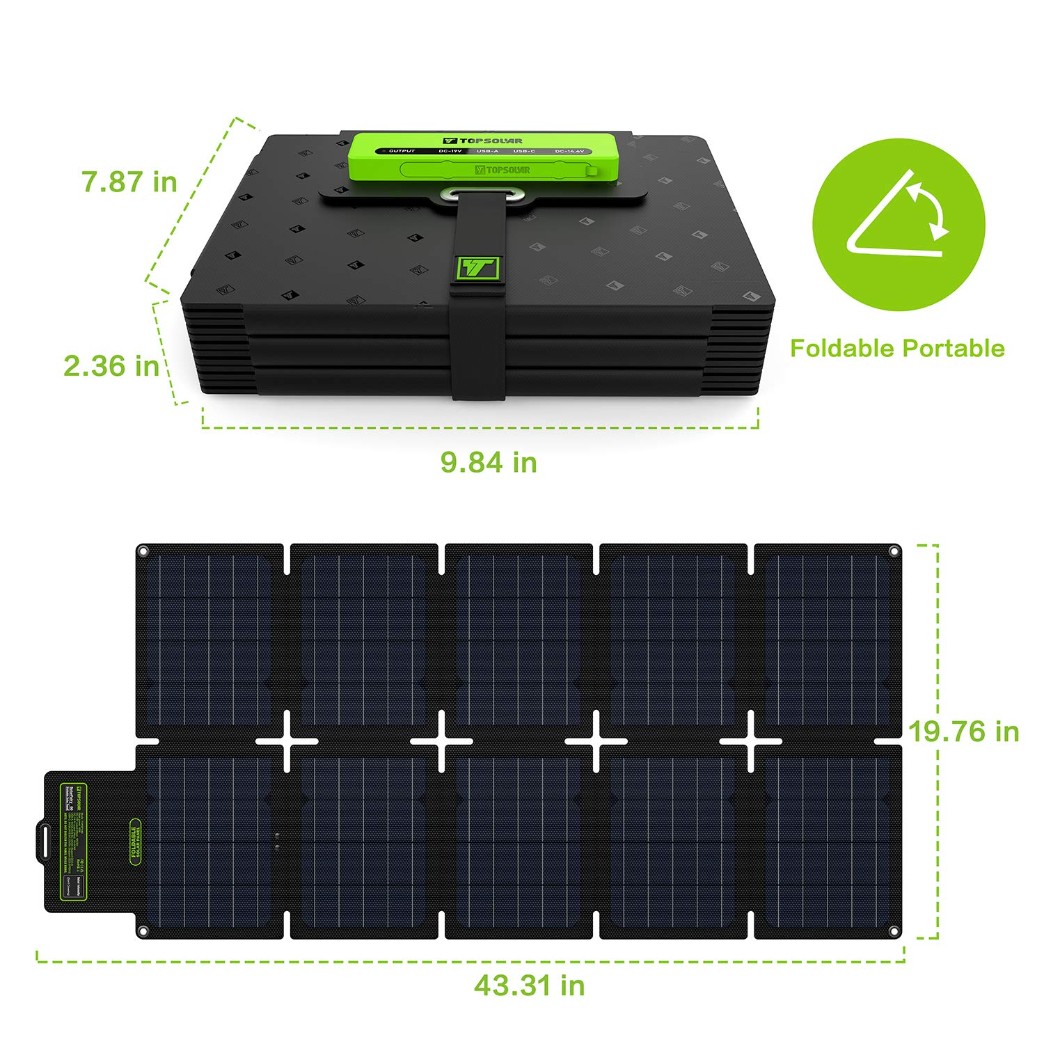 Dual 5V USB /& 19V DC Output Upgrade Topsolar 60W Foldable Solar Panel Battery Charger Kit for Portable Generator Power Station Cell Phones Laptop 12V Car Boat RV Trailer Battery Charge