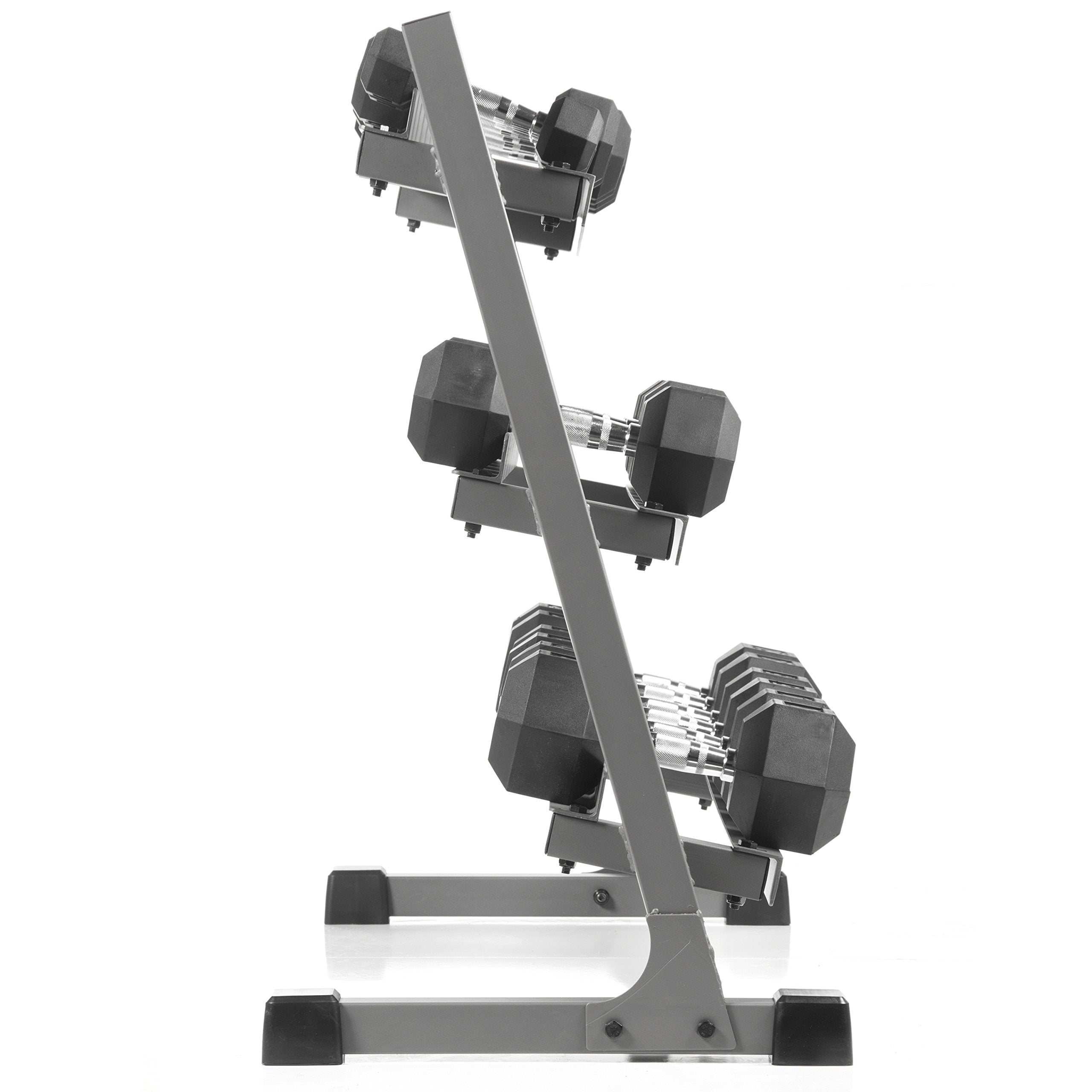 XMark 550 lb. Dumbbell Set and Heavy Duty Rack, 5 to 50 lb Set of Hex Dumbbells, Dumbbells and Dumbbell Storage Rack