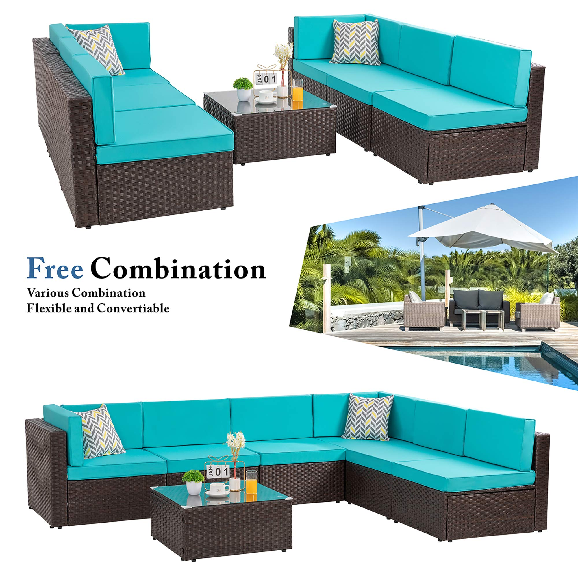 Walsunny 7pcs Outdoor Brown Rattan Sectional Sofa Patio Wicker Furniture Set Conversation Sets with Tea Table&Washable Couch Cushions (Blue)