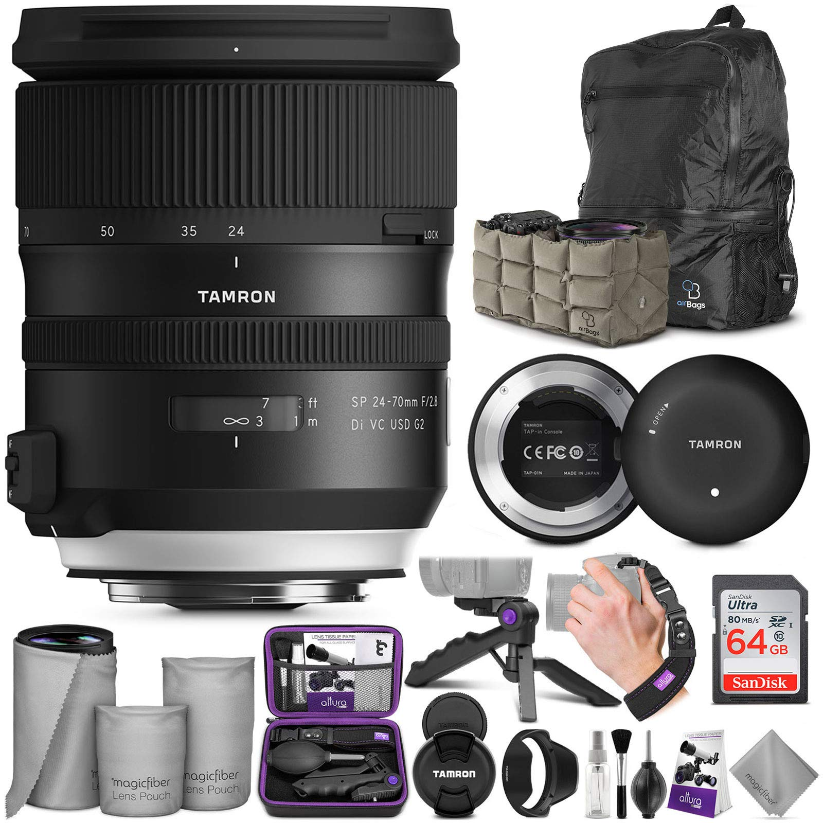 Tamron SP 24-70mm f/2.8 Di VC USD G2 Lens for Canon EF & Tamron Tap-in Console with Altura Photo Advanced Accessory and Travel Bundle