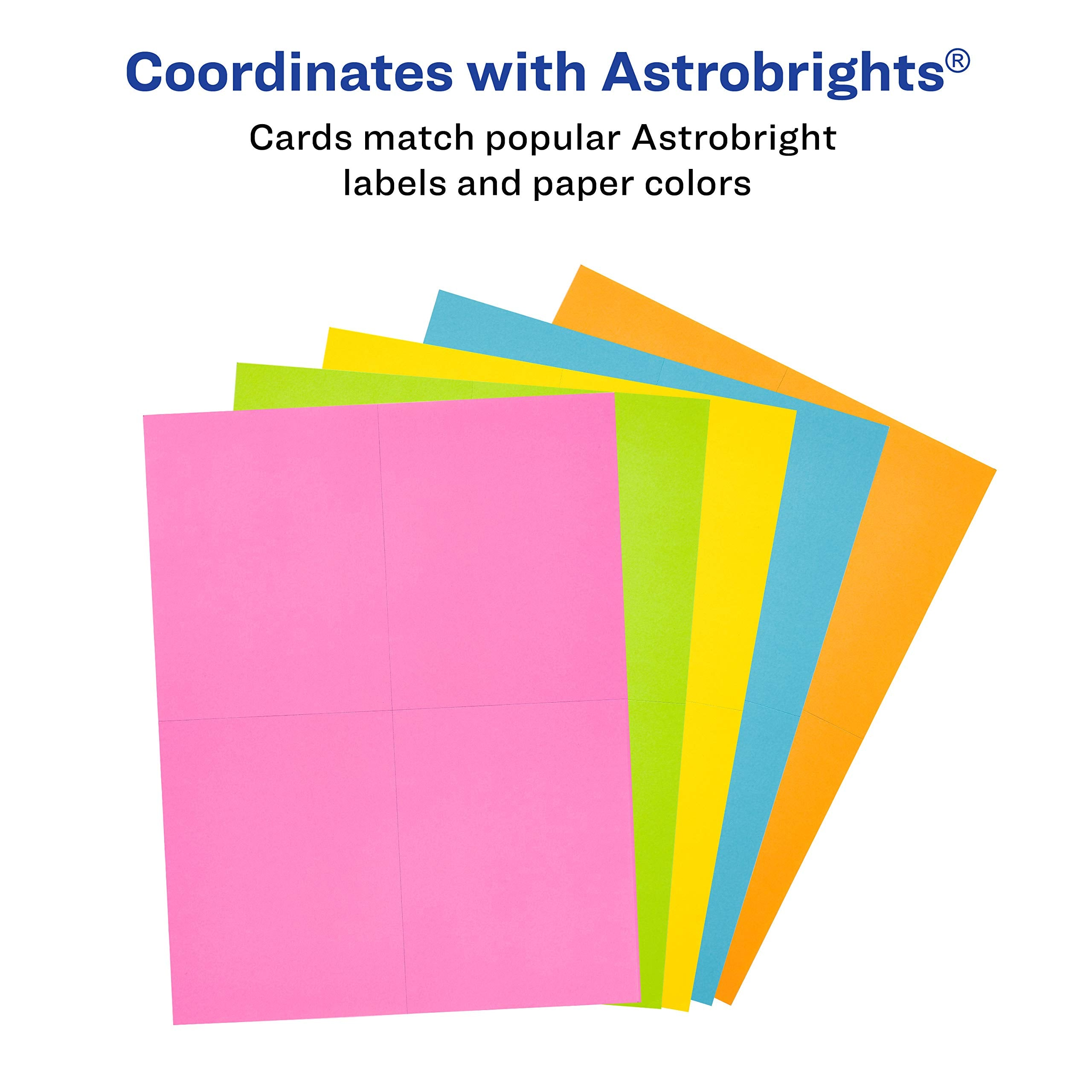 65 lbs // 176 GSM 100 Cards 35704 Avery Astrobrights Postcards 4.25 x 5.5 Laser//Inkjet Assorted Colors