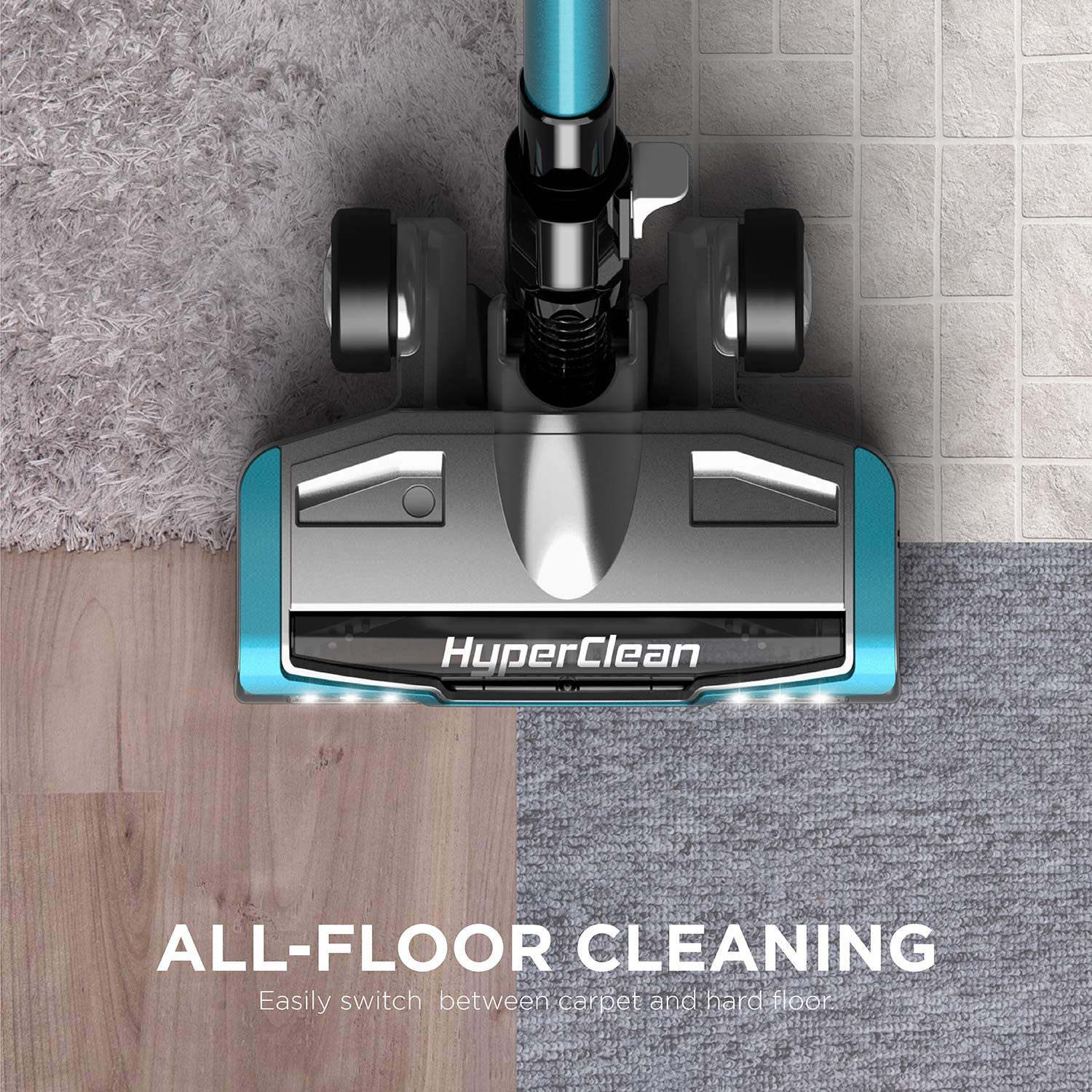 EUREKA NEC222 HyperClean Cleaner, Super for All Carpet and Hardwood floor Stick Powerful Digital Motor, Vacuum Cordless