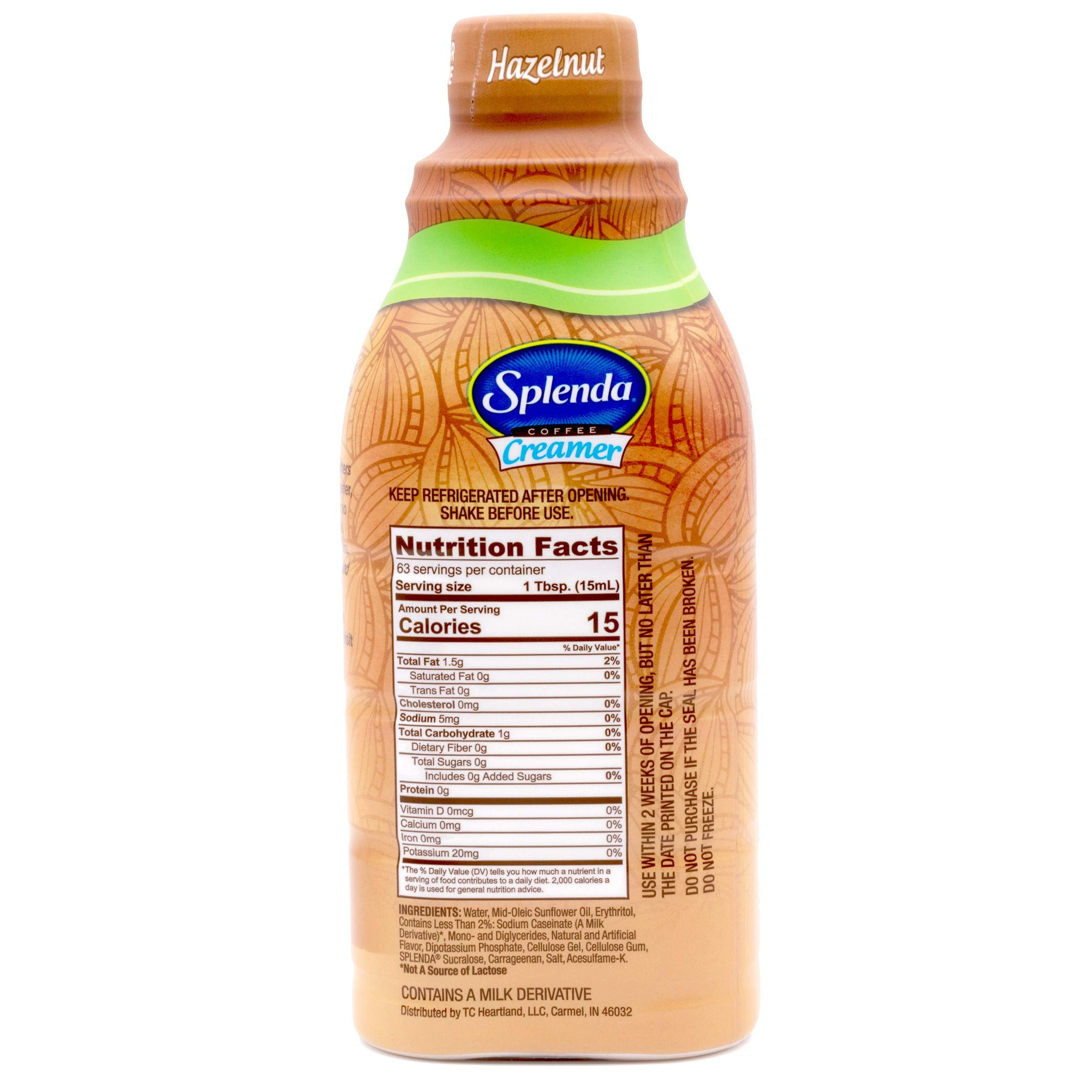 SPLENDA Sugar Free, Low Calorie Hazelnut Coffee Creamer. Pack of 6 (32oz. Bottles)
