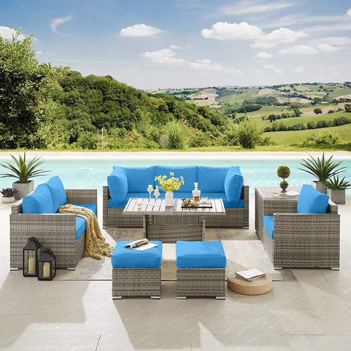 10 Pieces Patio Sofa Sectional Sofa PE Wicker Rattan Set Patio Furniture Set (Blue)