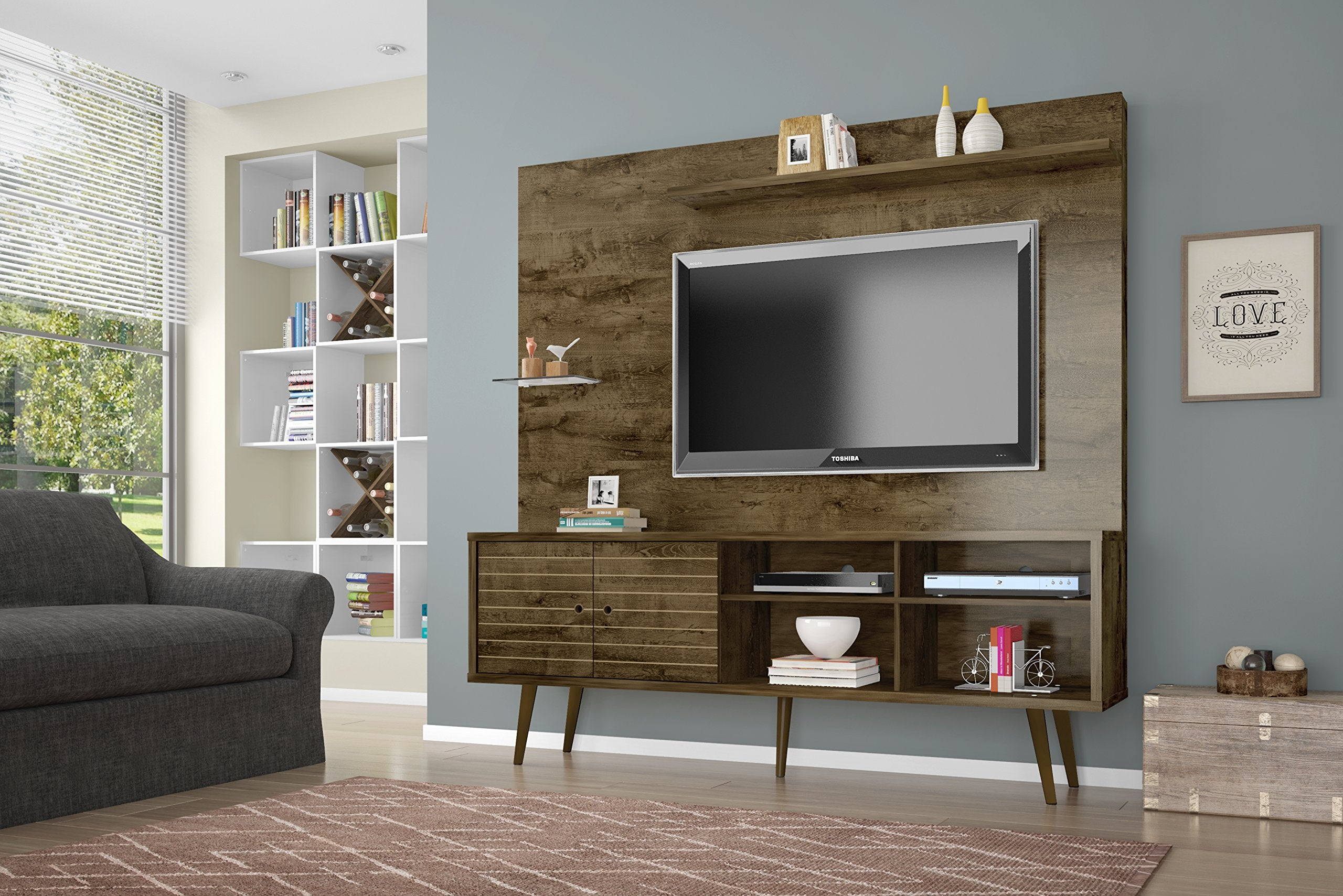 Manhattan Comfort Liberty Complete Living Room Entertainment Center And Tv Stand, Rustic Brown