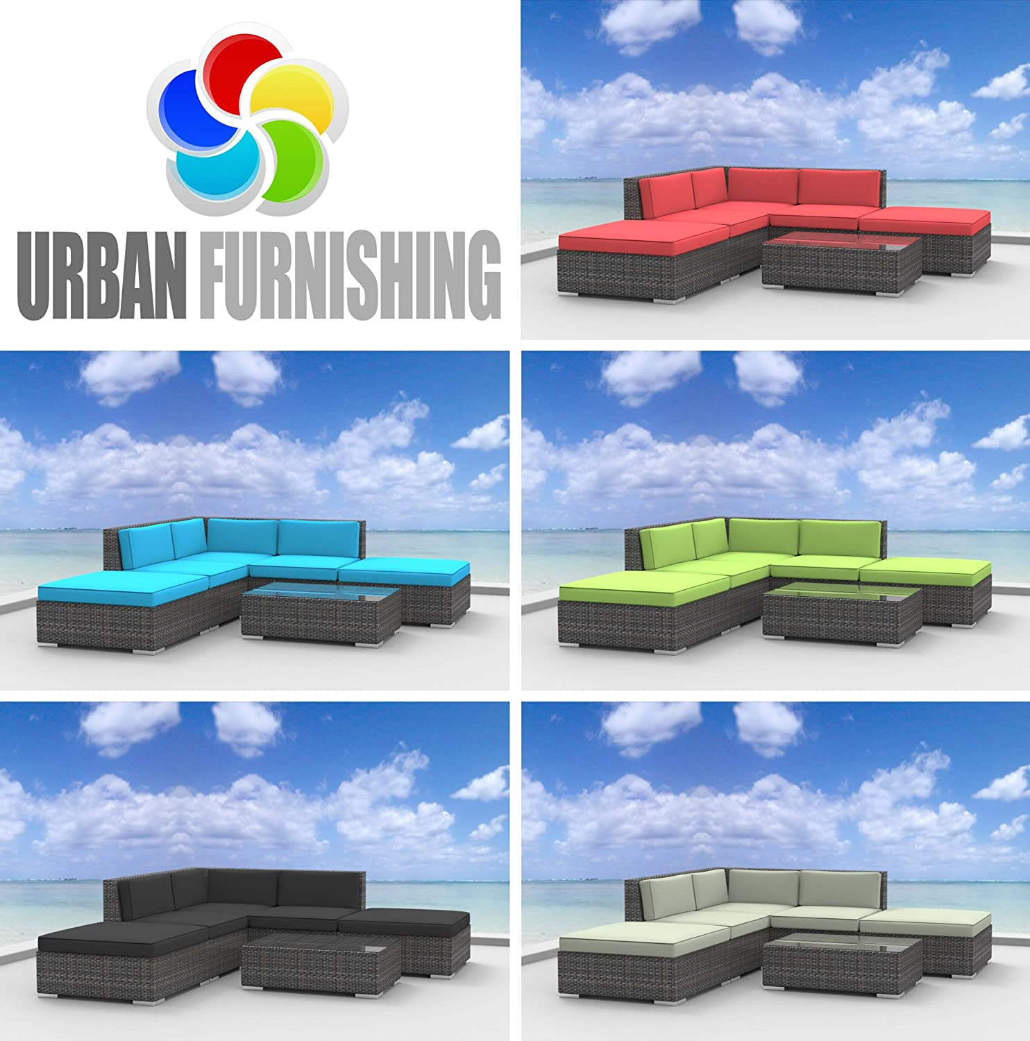 UrbanFurnishing.net 6a-Bali-Limegreen 6 Piece Modern Patio Furniture Sofa Sectional Couch Set