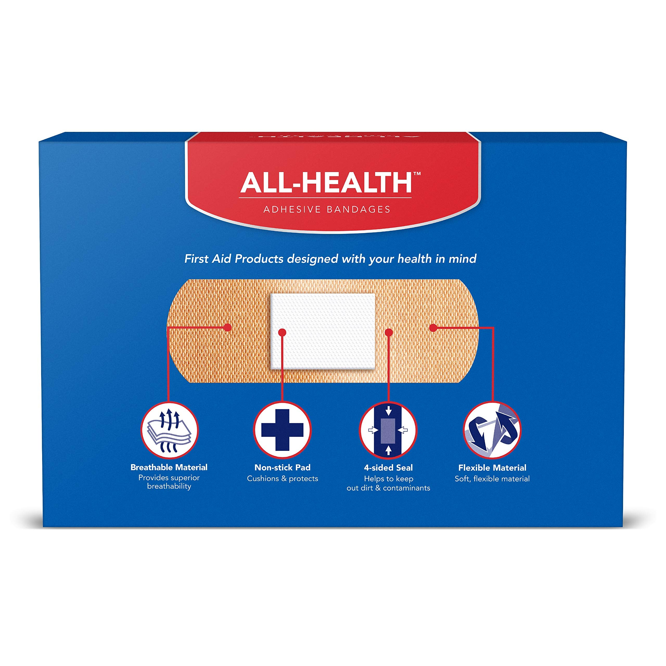 All Health Flexible Fabric Adhesive Bandages, Assorted Sizes Variety Pack, 200 ct | Flexible Protection for First Aid and Wound Care