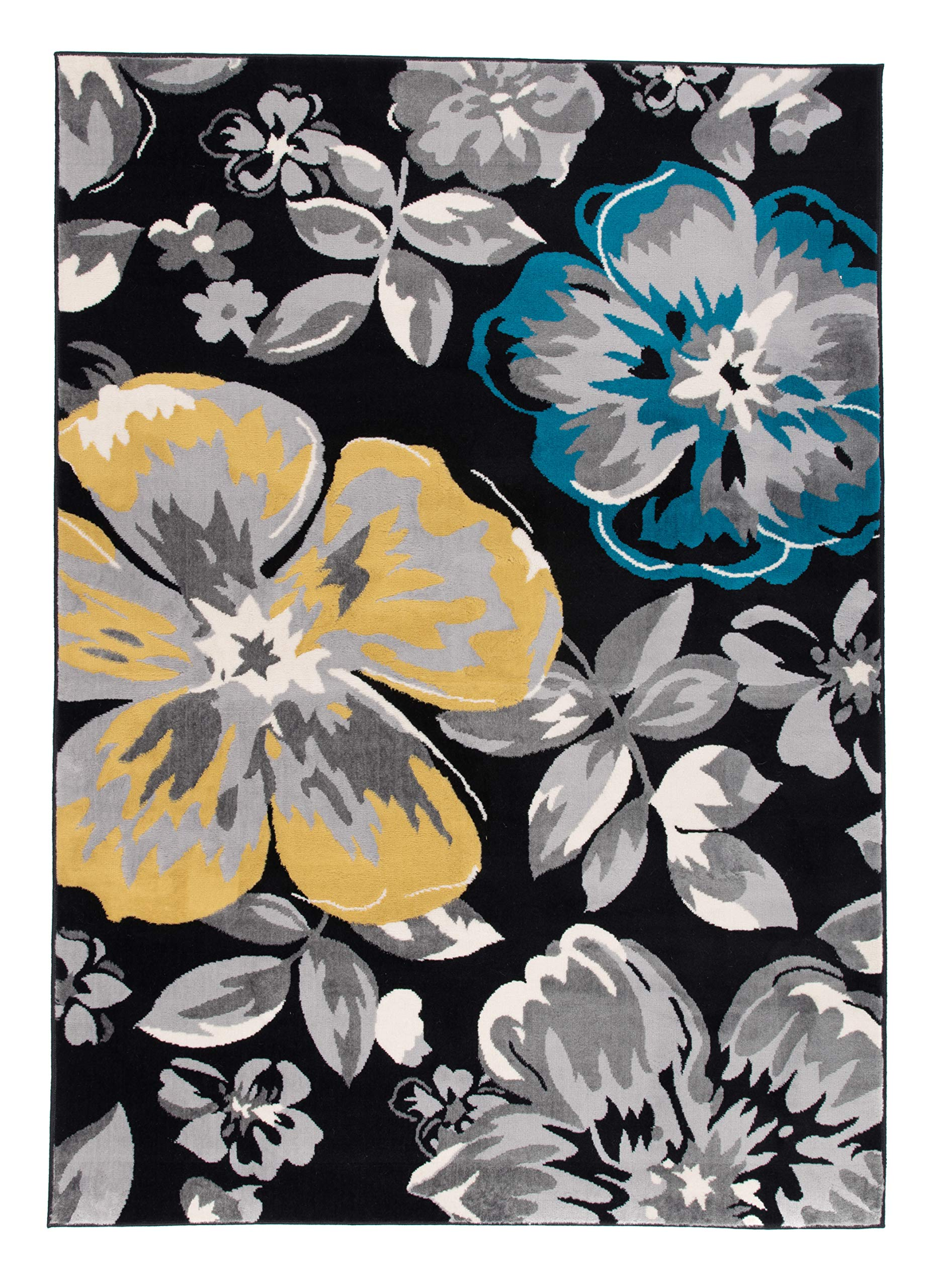 Modern Floral Area Rugs 10' x 14' Black