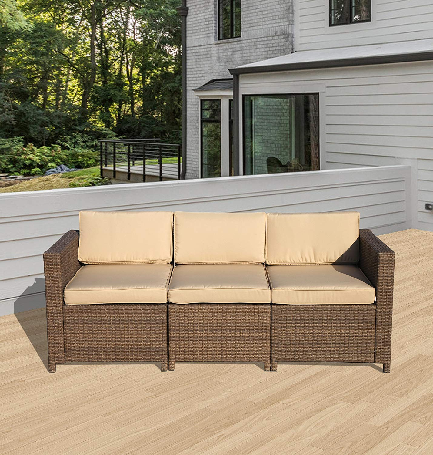 Patiorama Outdoor Furniture Wicker Sofa Couch 3 Piece Patio Furniture w/Steel Frame and Removable Cushions - Brown