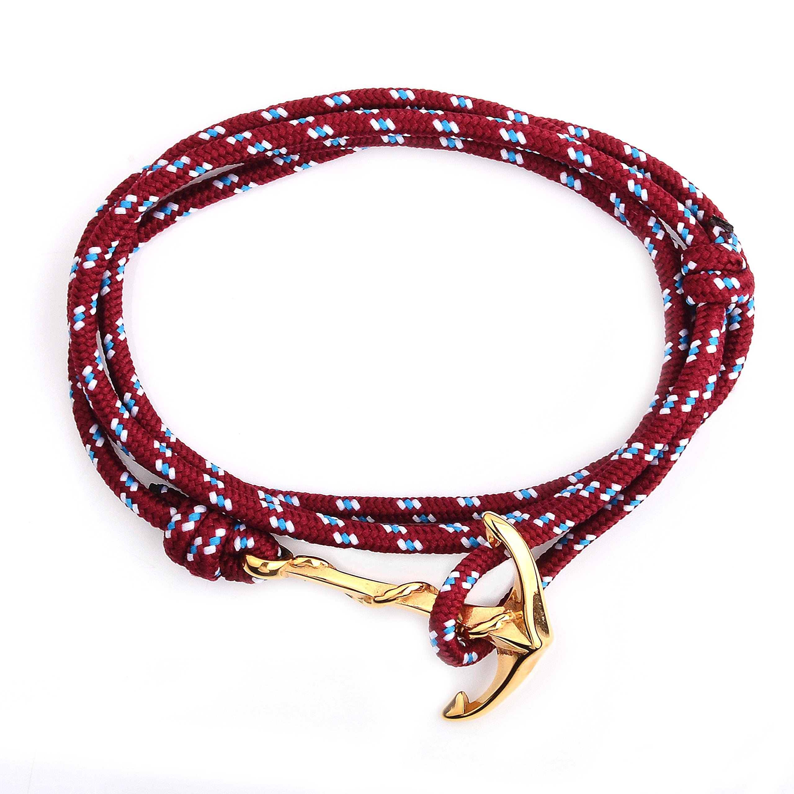 Crucible Jewelry Unisex Adult Gold Plated Polished Stainless Steel Anchor Clasp Red Rope Adjustable Wrap Bracelet (3mm Wide), One Size