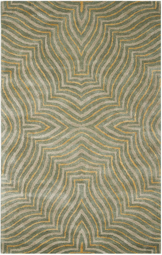 Safavieh Soho Collection SOH382A Handmade Blue and Ivory Premium Wool Area Rug (5' x 8')