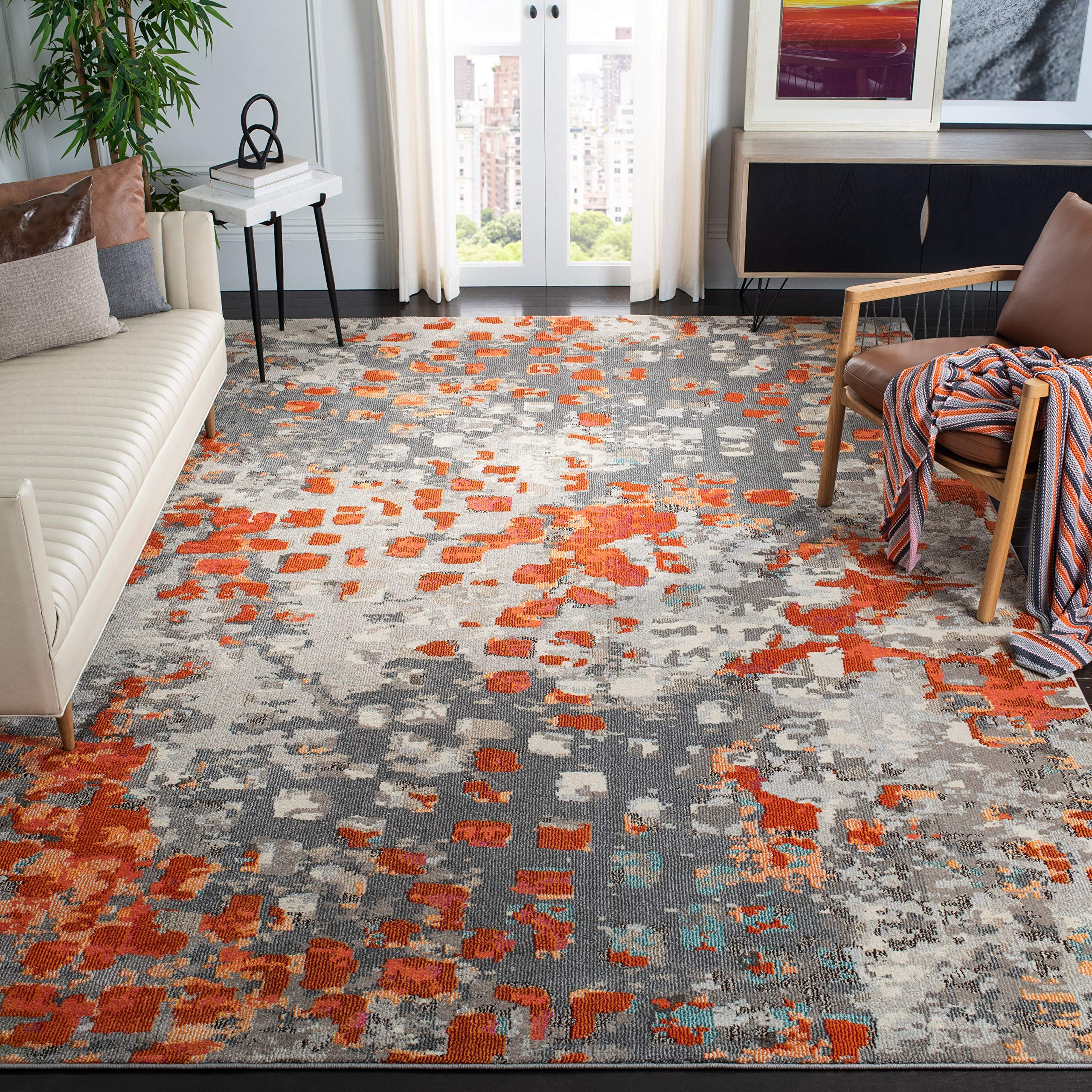 Safavieh Monaco Collection MNC225H Modern Abstract Grey and Orange Area Rug (9' Square)