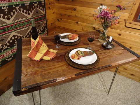 Industrial Dining Table with Hairpin Legs