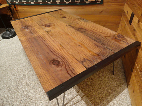 Barnwood coffee table with hairpin legs