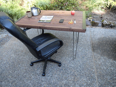 Industrial desk with hairpin legs