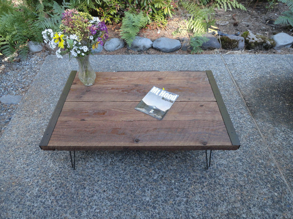 "Custom 18"" Height 36"" x 36"" Industrial Coffee Table from old barnwood with hairpin legs"