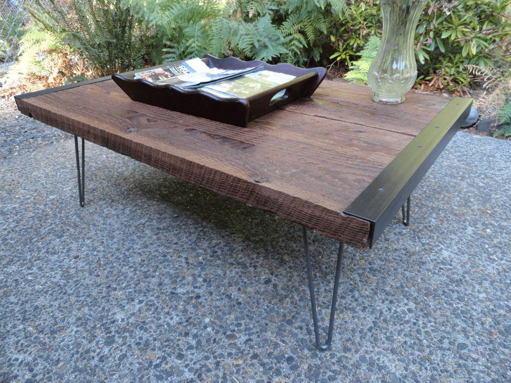 30 x 30 industrial coffee table from old barnwood with hairpin legs mt hood wood works. Black Bedroom Furniture Sets. Home Design Ideas