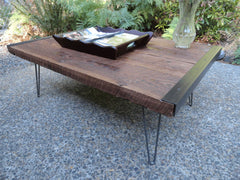 "20"" x 40"" Industrial Coffee Table from old barnwood with hairpin legs"