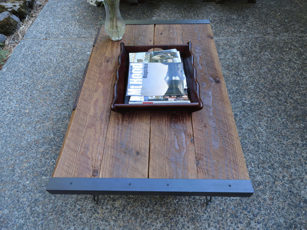 Custom Outdoor Patio Coffee Table from old barn wood with hairpin legs