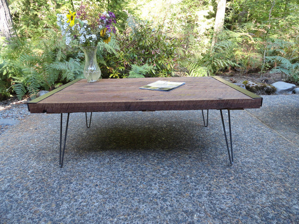 "24"" x 48"" Outdoor Industrial Coffee Table from old barnwood with hairpin legs"