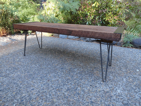6 ft Industrial Bench from salvaged barnwood with hairpin legs