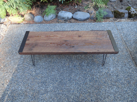 7 ft Industrial Bench from salvaged barnwood with hairpin legs