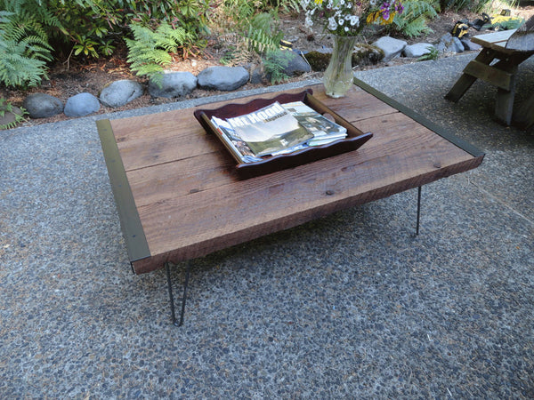 "30"" x 30"" Industrial Coffee Table from old barnwood with hairpin legs"