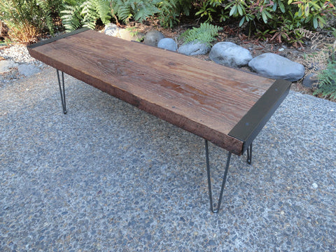 8 ft Industrial Bench from salvaged barnwood with hairpin legs