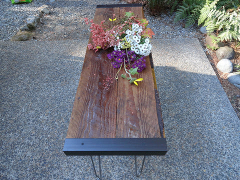 5 ft Industrial Sofa Table from salvaged barnwood with hairpin legs
