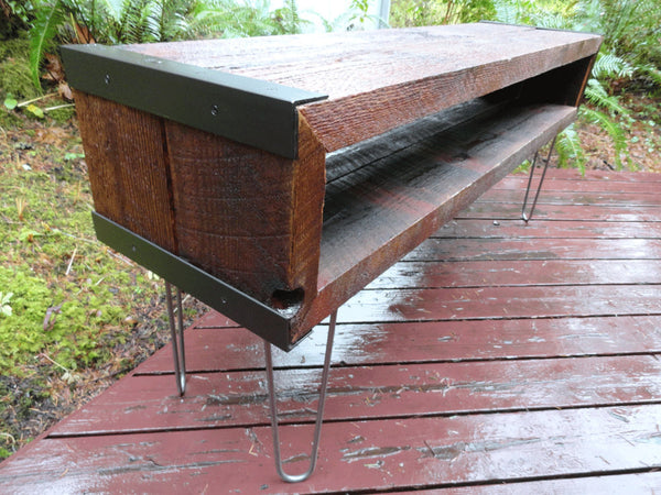 5 ft Industrial media console tv stands from old reclaimed barnwood with hairpin legs