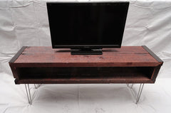 4 ft Industrial media console tv stand from salvaged barnwood with hairpin legs