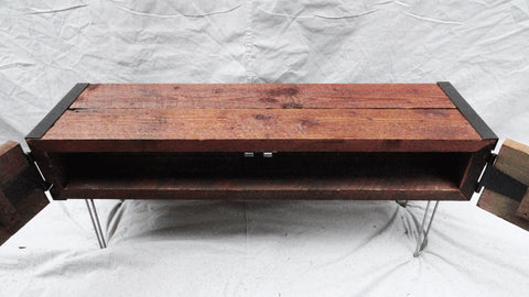 3 ft Industrial credenza console tv stand with doors and hairpin legs