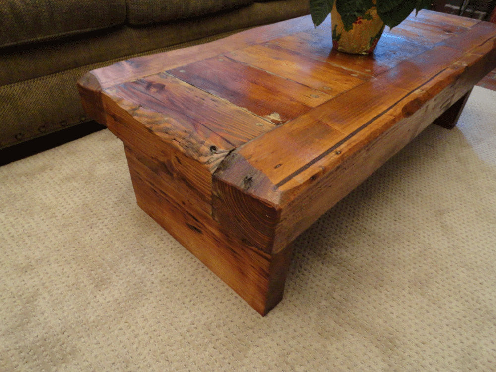 Old growth coffee table 4 inch thick top 36 x 60 for Coffee tables 36 inches