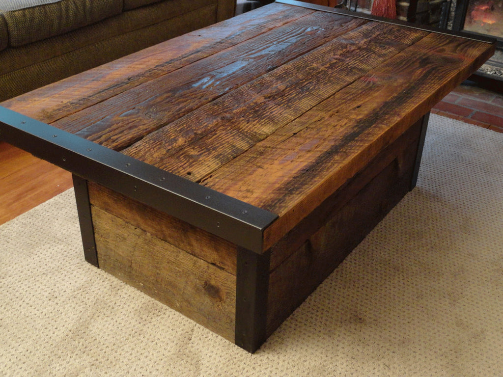 Industrial Coffee Table Industrial Coffee Table With Usable Trunk Chest Base Mt Hood