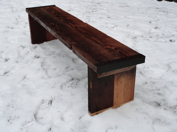 4 ft Industrial Bench with wood legs