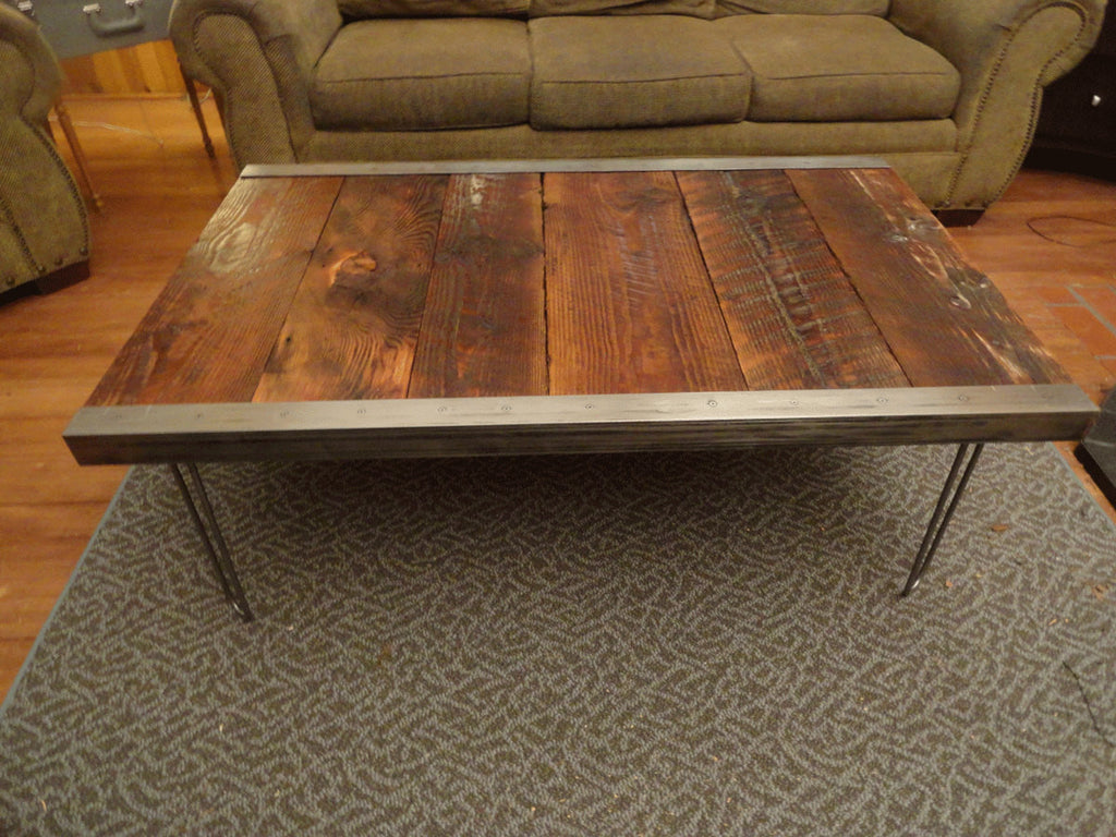 Industrial Coffee Table with raw steel trim and hairpin legsMt