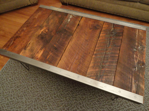 30 x 30 Industrial Coffee Table with raw steel trim and hairpin legs