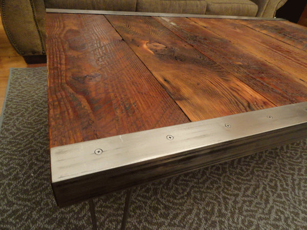 Industrial Coffee Table with raw steel trim and hairpin legs