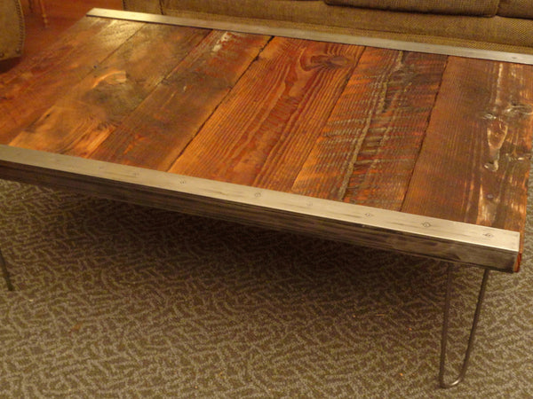 20x40 Industrial Coffee Table with raw steel trim and hairpin legs